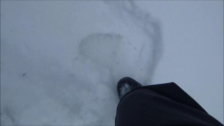 Bigfoot kicking into melt/freeze base at Spout Springs 11-25-2015