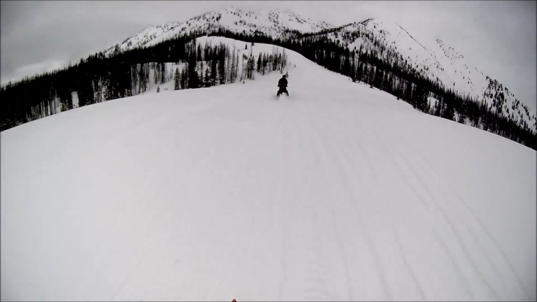 Snowmobiling to Two Color Lake from Bennet Peak